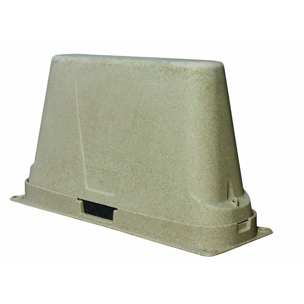 Dekorra 48 in. L x 17 in. W x 27 in. H Large Plastic Two Piece Brown Granite Backflow Cover