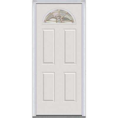 36 in. x 80 in. Master Nouveau Left-Hand Inswing 1/4-Lite Decorative 4-Panel Primed Fiberglass Smooth Prehung Front Door