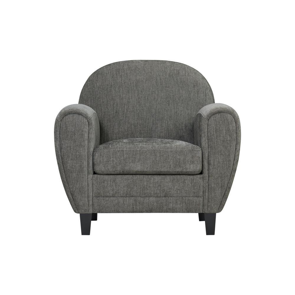 Valencia Modern Club Chair in Smoke Gray Herringbone