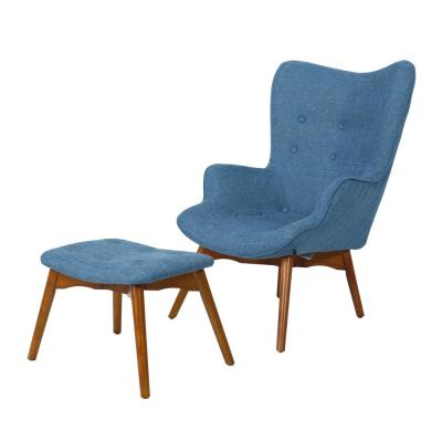 Hariata Muted Blue Fabric Contour Chair and Ottoman Set