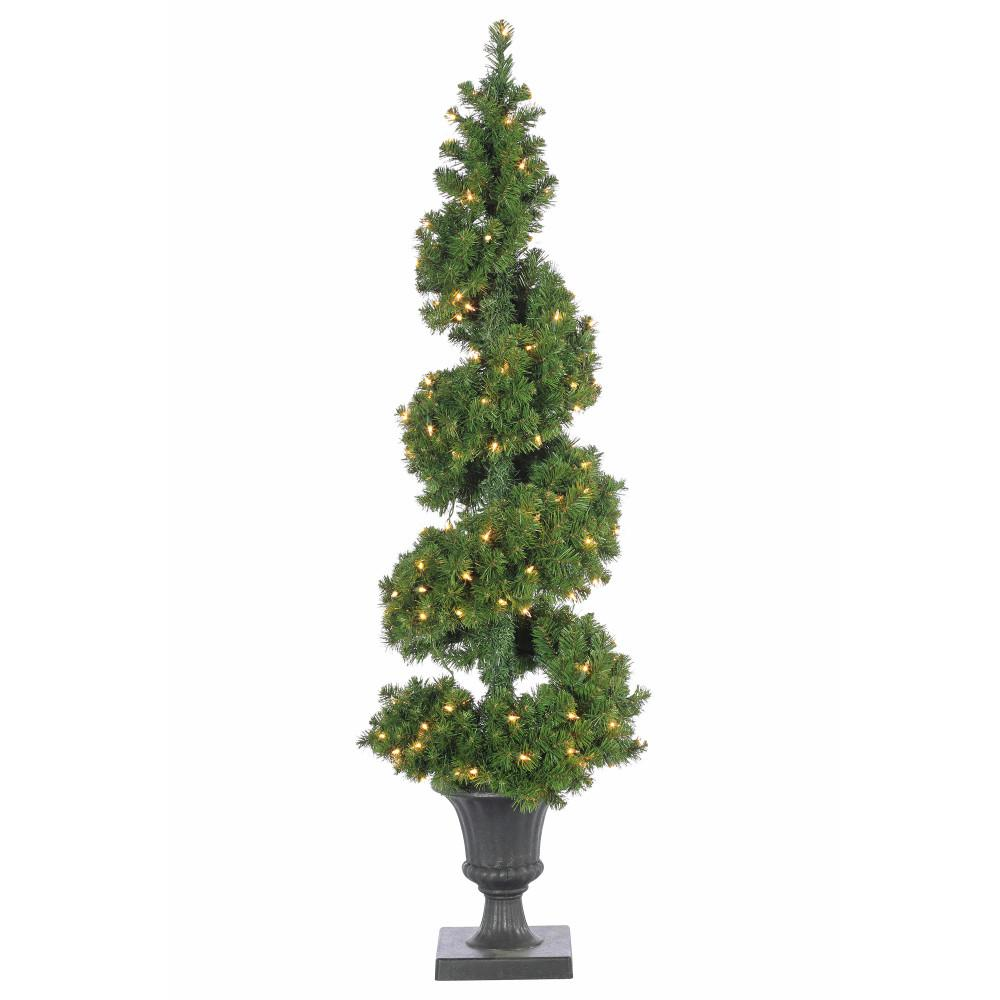 Sterling 5 ft. Pre-Lit Potted Spiral Artificial Christmas Tree ...