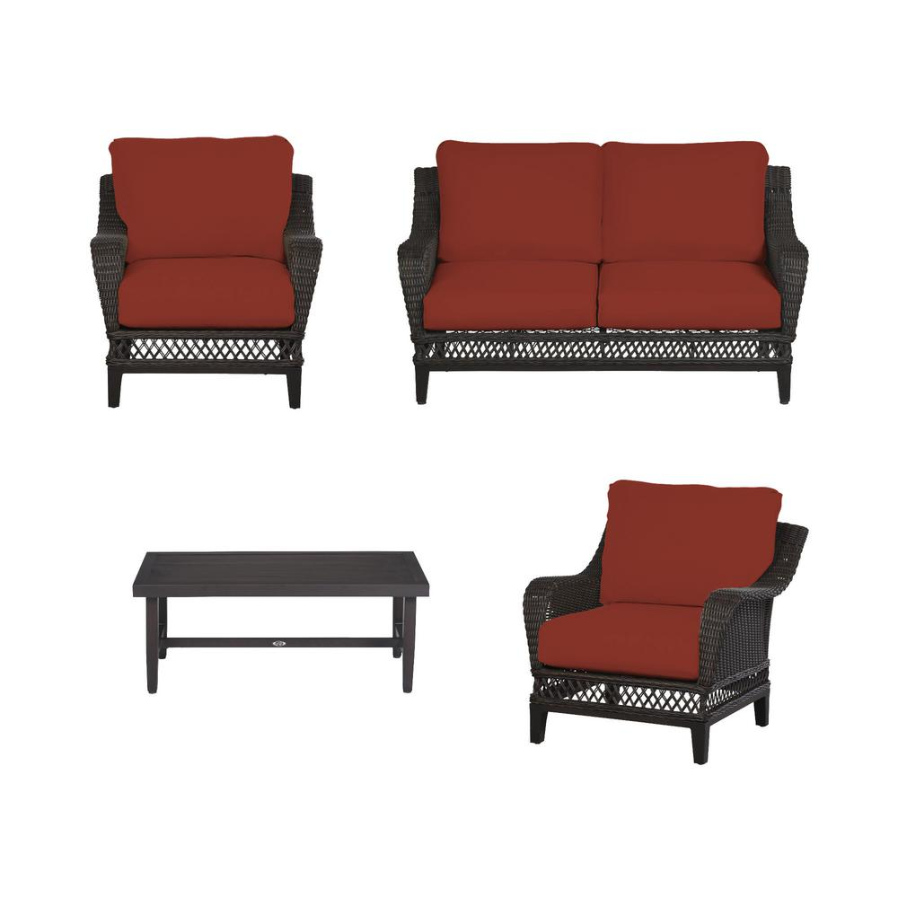 Woodbury 4-Piece Dark Brown Wicker Outdoor Patio Seating Set with Sunbrella Henna Red Cushions