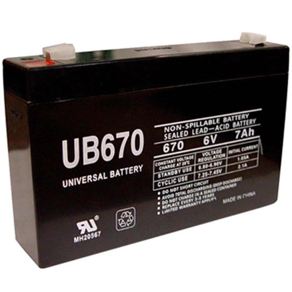 UPG 6-Volt 7Ah Maintenance-Free UL Listed Exit Lighting and Emergency Lighting Security Battery