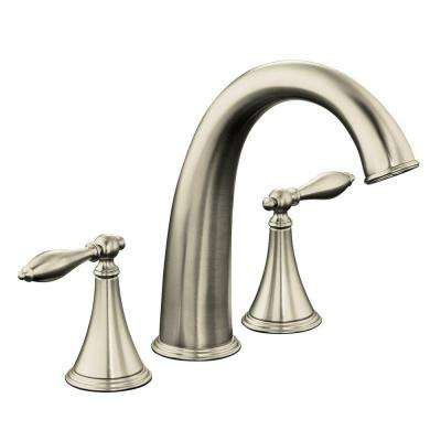 Finial 2-Handle Deck-Mount Roman Tub Faucet Trim Only in Vibrant Brushed Nickel (Valve Not Included)