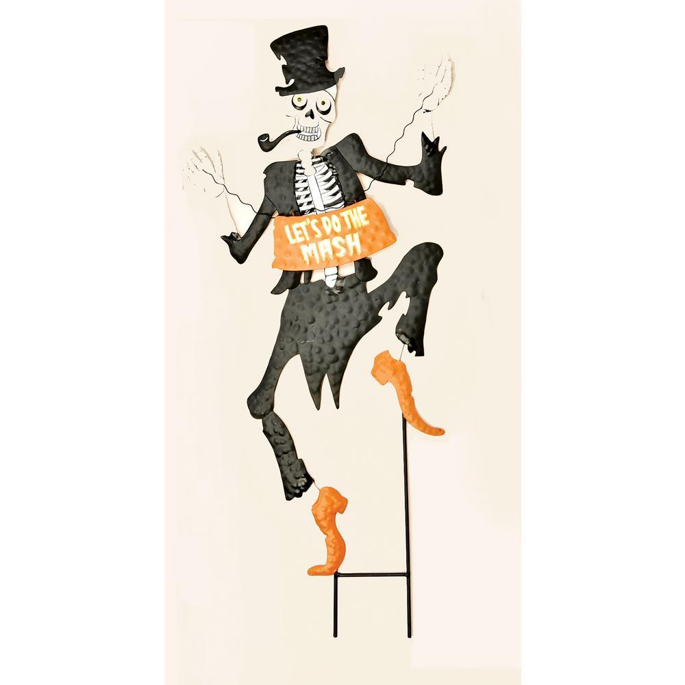 33 in. Metal Tuxedo Skeleton Stake with Orange Sign