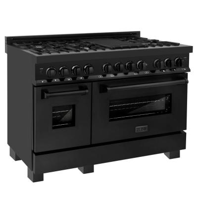 ZLINE 48 in. Black Stainless 6.0 cu.ft. 7 Gas Burner/Electric Oven Range (RAB-48)