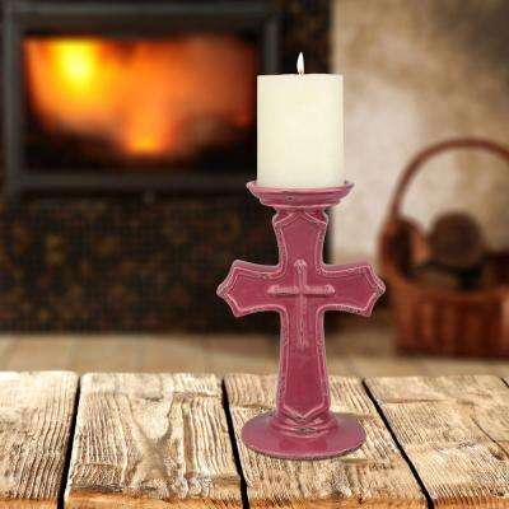 9 in. Salmon Ceramic Cross Pillar Candle Holder