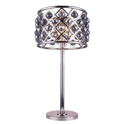 Madison 32 in. Polished Nickel Table Lamp with Silver Shade Grey Crystal