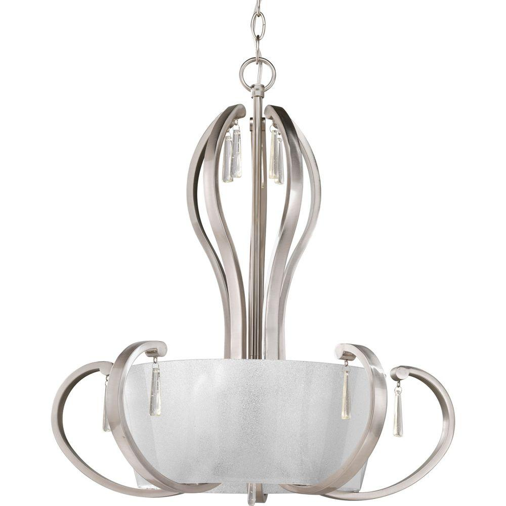 Progress Lighting Dazzle Collection 5 Light Brushed Nickel Foyer Pendant With Ice Glass P3574 09