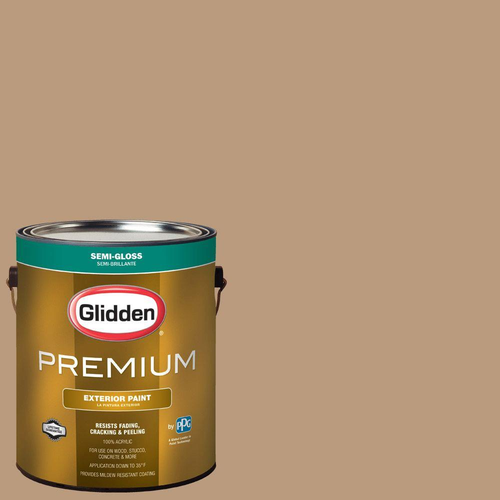 Glidden Premium 1 Gal. #HDGWN20 Warm Caramel Semi Gloss Latex Exterior Paint