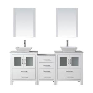 Virtu usa dior 66 in w x 18 3 in d vanity in white with marble vanity top in carrara white for 66 inch bathroom vanity cabinets