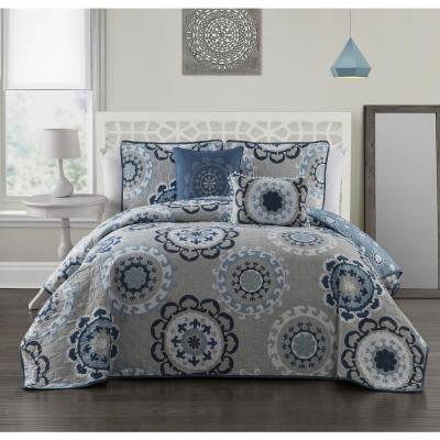 Elsa 5-Piece Blue Queen Quilt Set