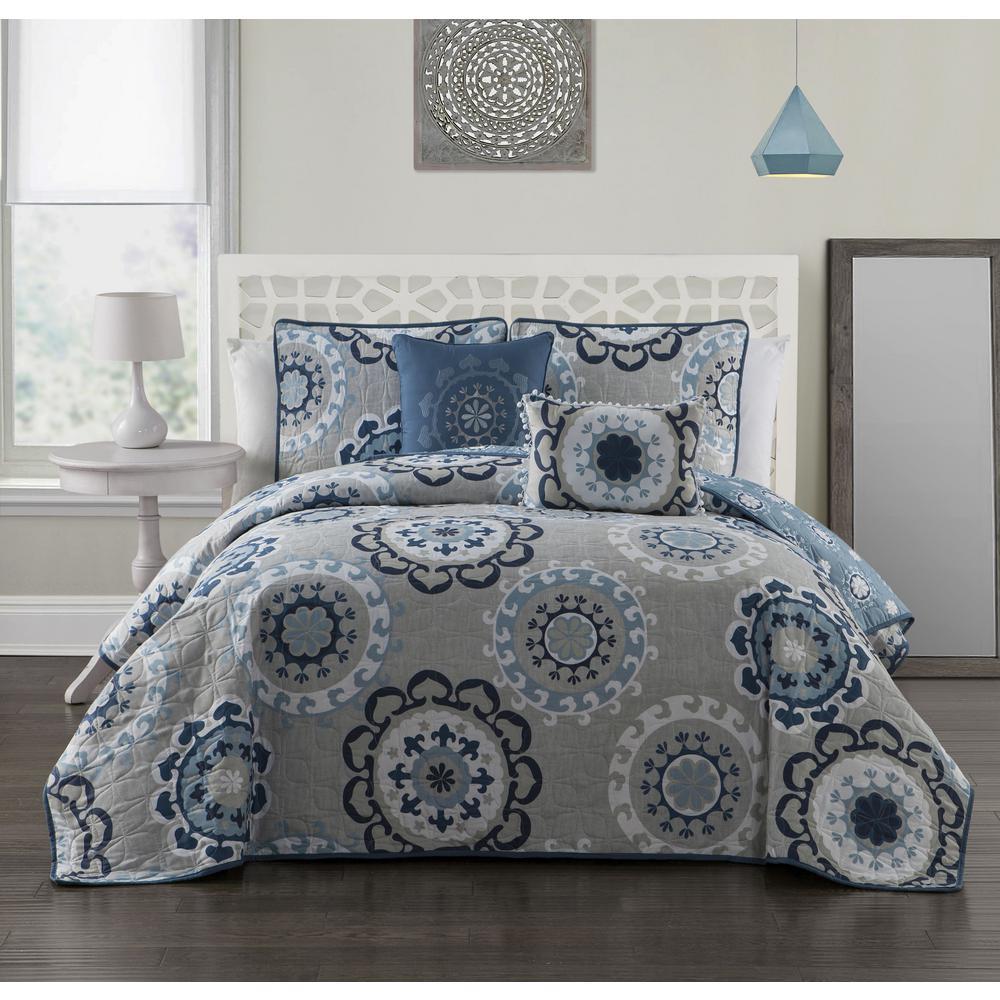 Avondale Manor Elsa 5-Piece Blue Queen Quilt Set ELA5QTQUENGHBL