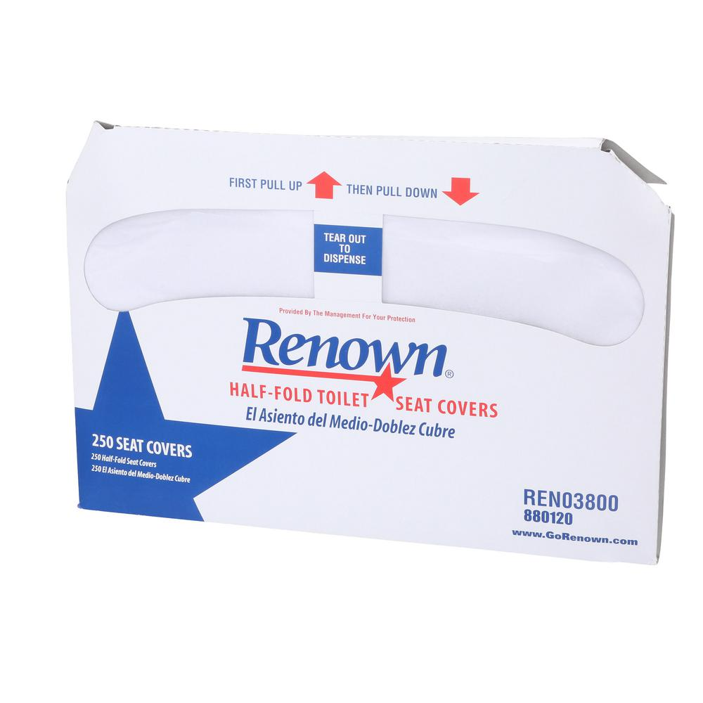 Renown Half-Fold White Toilet Seat Covers (250 Sheets Per Pack, 20 ...