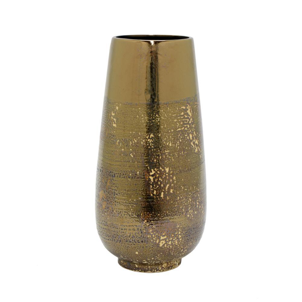 Distressed Gold Ceramic Vase