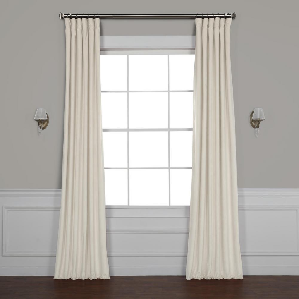 Exclusive Fabrics & Furnishings Vanilla Ivory Plush Velvet Curtain - 50 in. W x 108 in. L