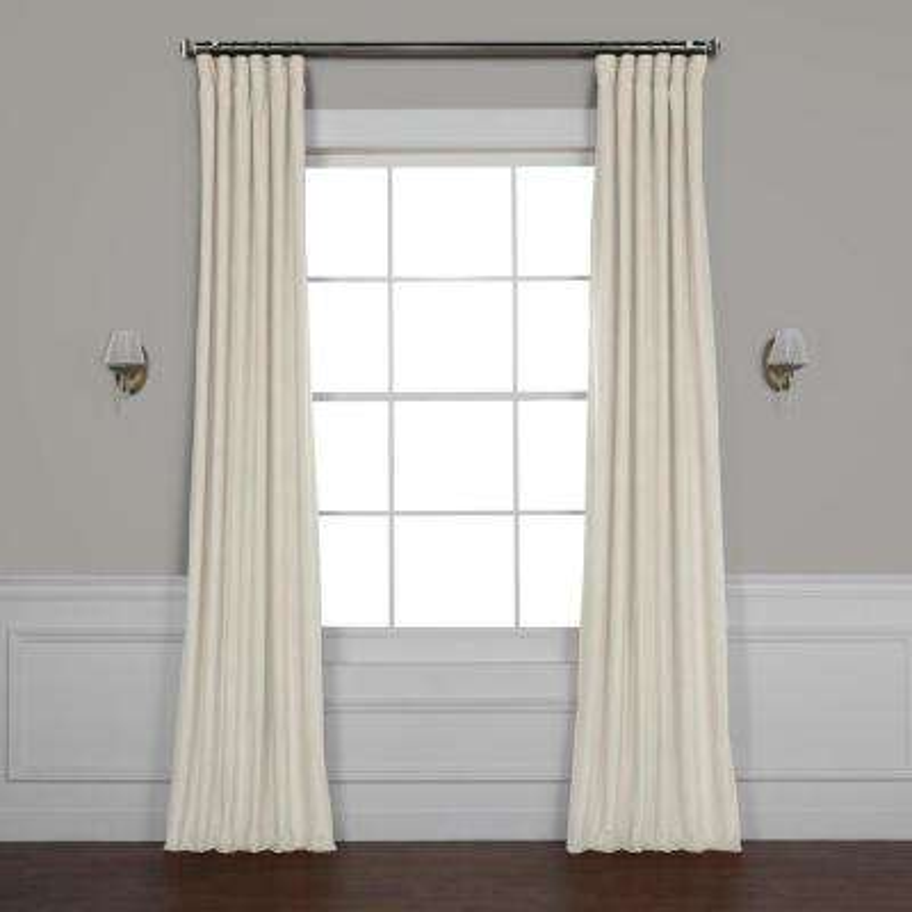 Vanilla Ivory Plush Velvet Curtain - 50 in. W x 84 in. L