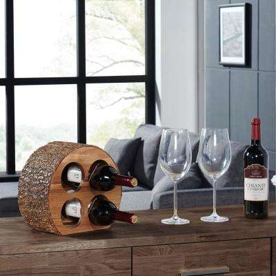 Round Acacia Wood 4-Bottle Wine Holder with Bark