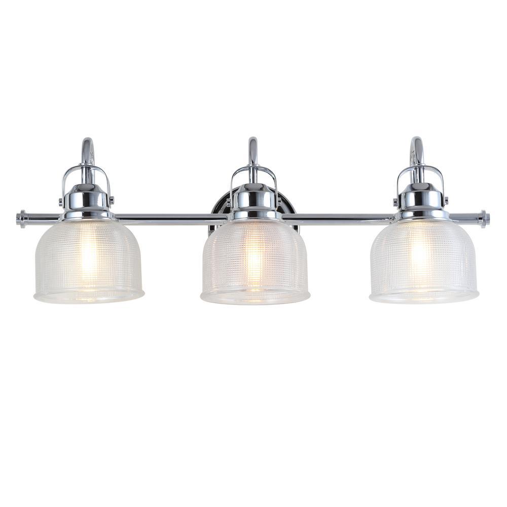 Virginia 25.25 in. 3-Light Metal/Glass LED Chrome Vanity Light