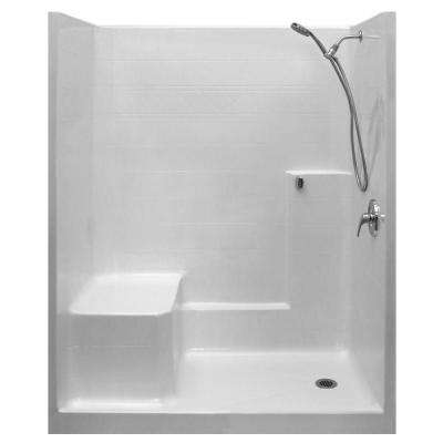 Standard-SA 33 in. x 60 in. x 77 in. 1-Piece Low Threshold Shower Stall in White, Shower Kit, Molded Seat, Right Drain