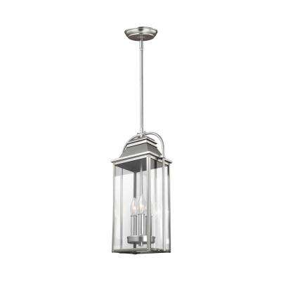 Wellsworth 3-Light Painted Brushed Steel Outdoor Hanging Pendant Lantern