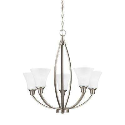 Metcalf 5-Light Brushed Nickel Chandelier with LED Bulbs