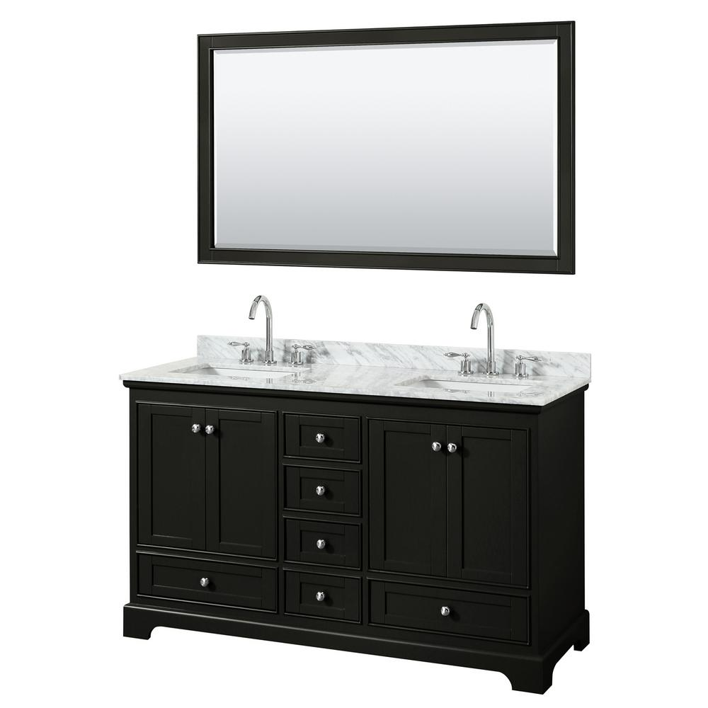 Wyndham Collection Deborah 60 in. Double Vanity in Dark Espresso with Marble Vanity Top in White Carrara with White Basins and Mirror