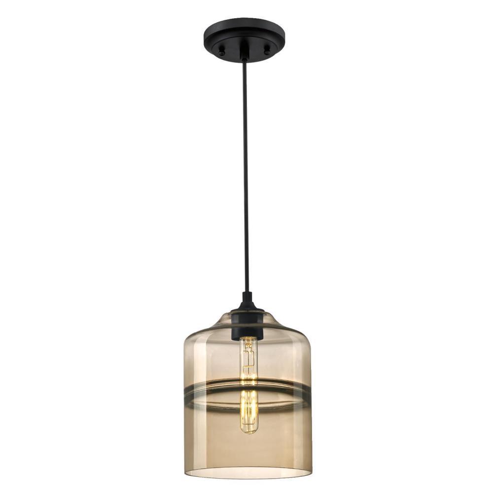Soren 1-Light Matte Black Mini Pendant with Ash Glass Shade
