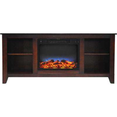 Bel Air 63 in. Electric Fireplace and Entertainment Stand in Mahogany with Multi-Color LED Insert