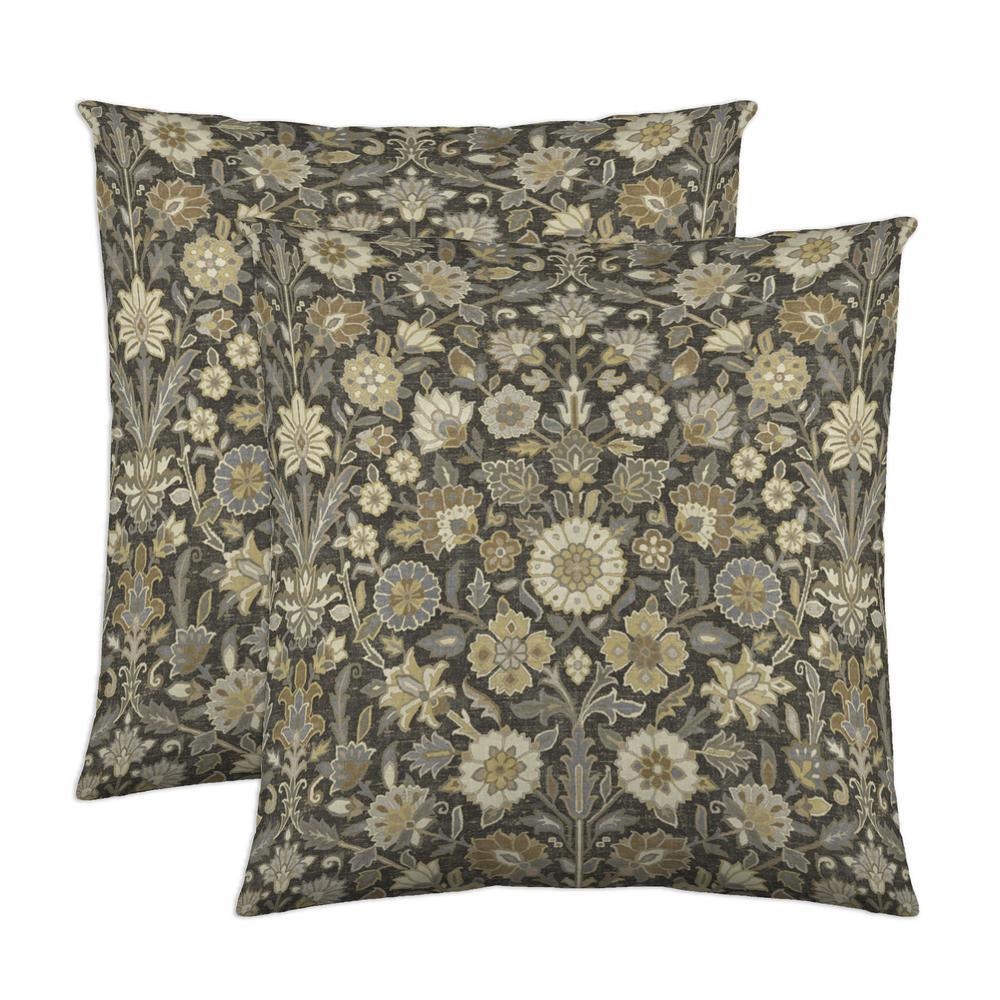 Indira 18 in. x 18 in. Slate Decorative Pillow (2-Pack)
