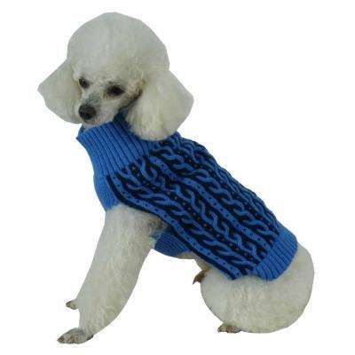 X-Small Aqua Blue and Dark Blue Harmonious Dual Color Weaved Heavy Cable Knitted Fashion Designer Dog Sweater
