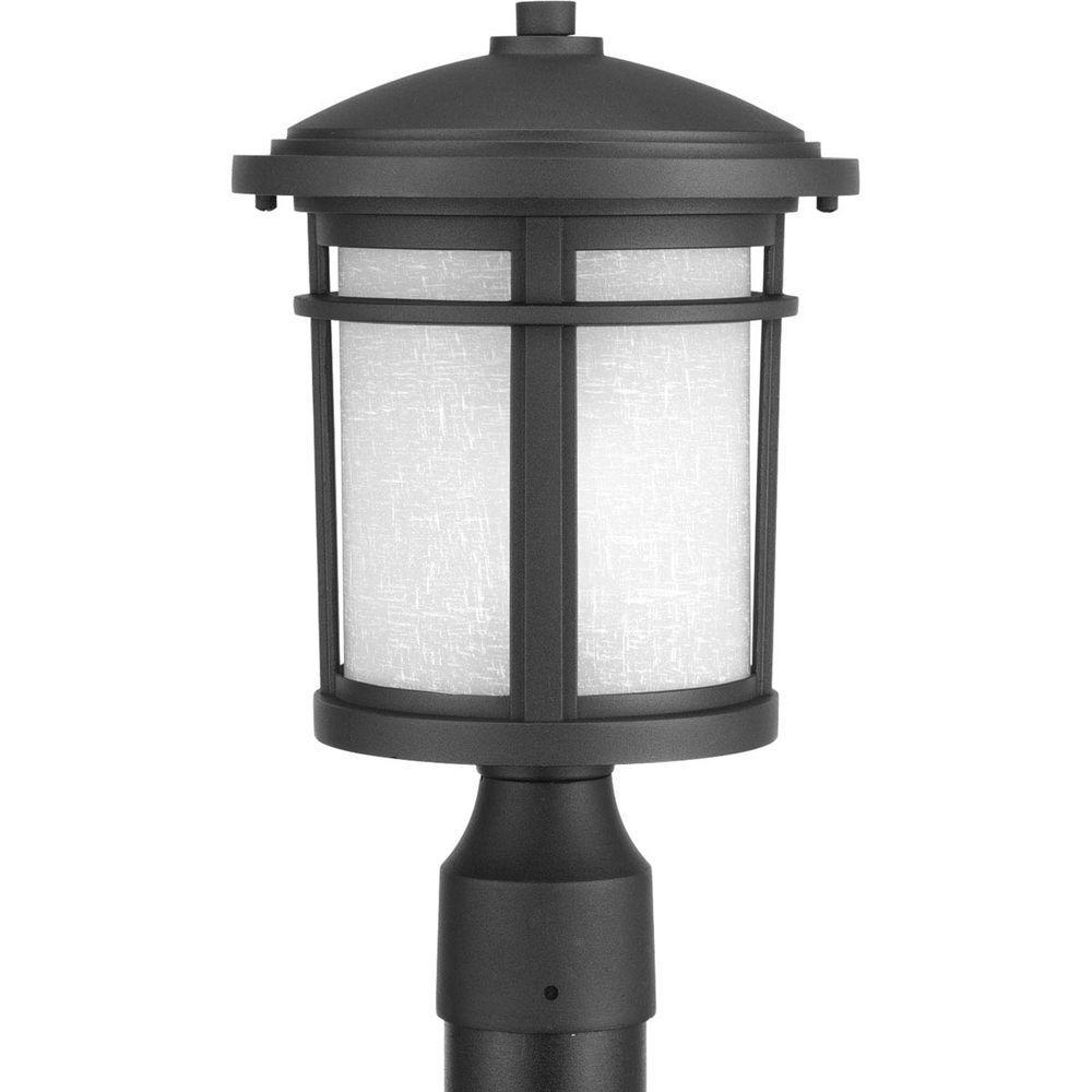 Wish Collection 1-Light Black Outdoor Post Lantern