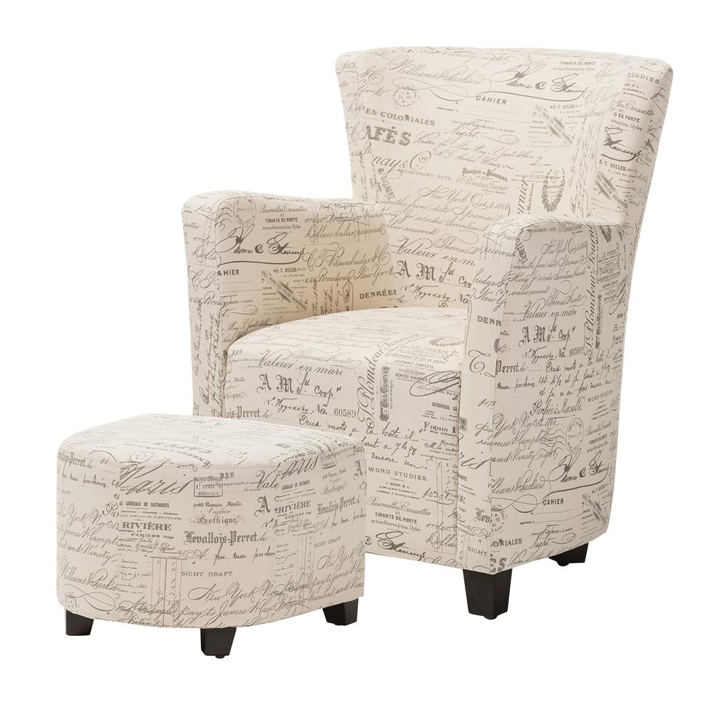 Baxton Studio Benson Contemporary Beige Fabric Upholstered Accent Chair And Ottoman Set