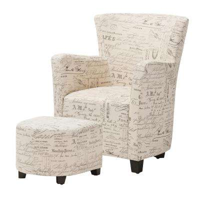 Benson Contemporary Beige Fabric Upholstered Accent Chair and Ottoman Set