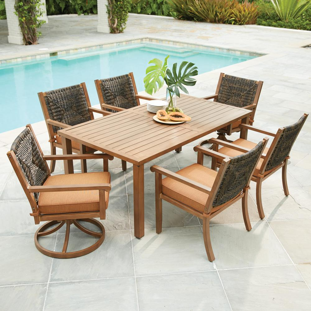 Kapolei 7 Piece Wicker Outdoor Dining Set With Reddish Brown Cushion