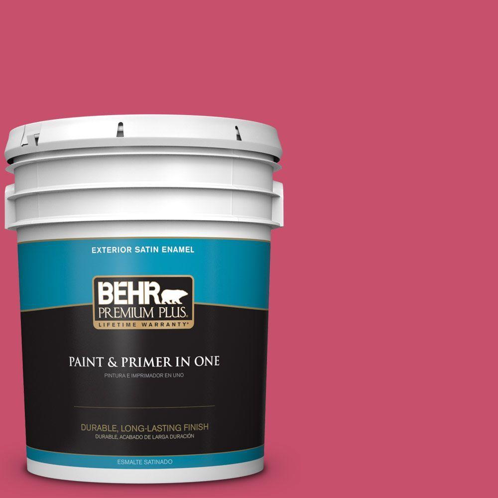 BEHR Premium Plus 5-gal. #120B-7 Tropical Smoothie Satin Enamel Exterior Paint