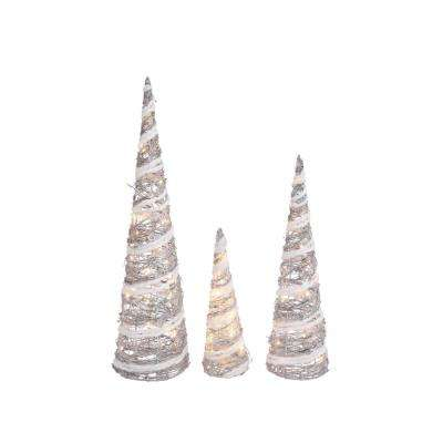 S/3 32 in. H Lighted Silver and White Grapevine Holiday Trees