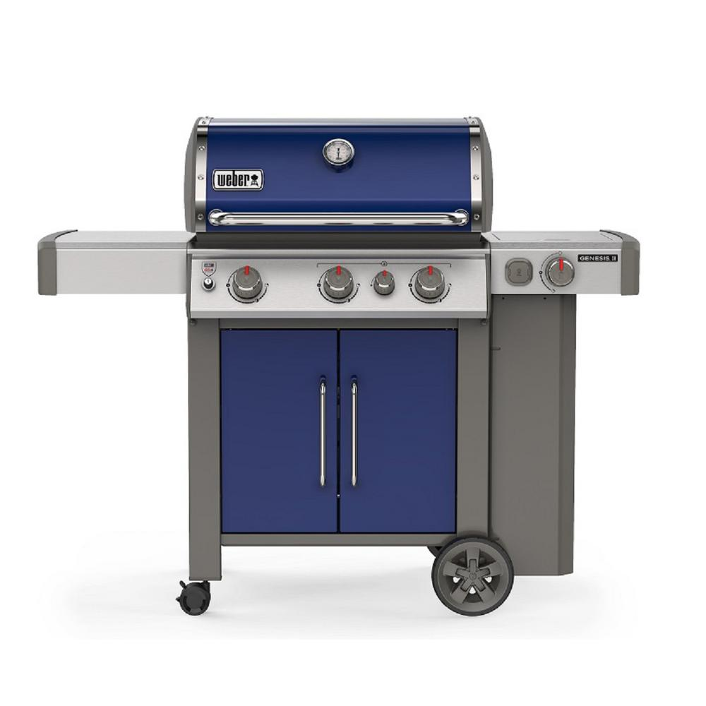 Weber Genesis II E-335 3-Burner Built-In Thermometer Propane Gas Grill in Deep Ocean Blue with Side Burner