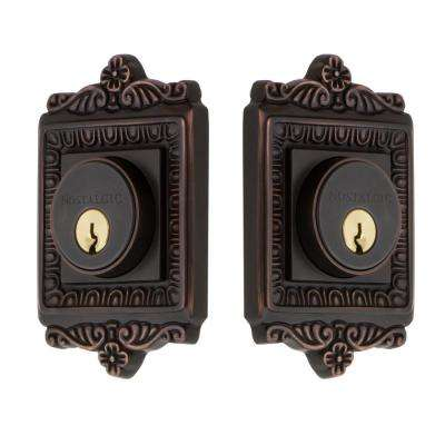 Egg and Dart Plate 2-3/4 in. Timeless Bronze Backset Double Cylinder Deadbolt