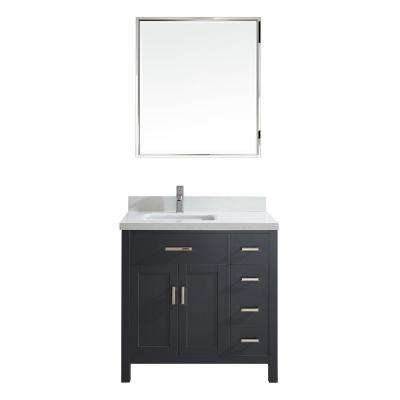 Kalize II 36 in. W x 22 in. D Vanity in Pepper Gray with Engineered Vanity Top in White with White Basin and Mirror