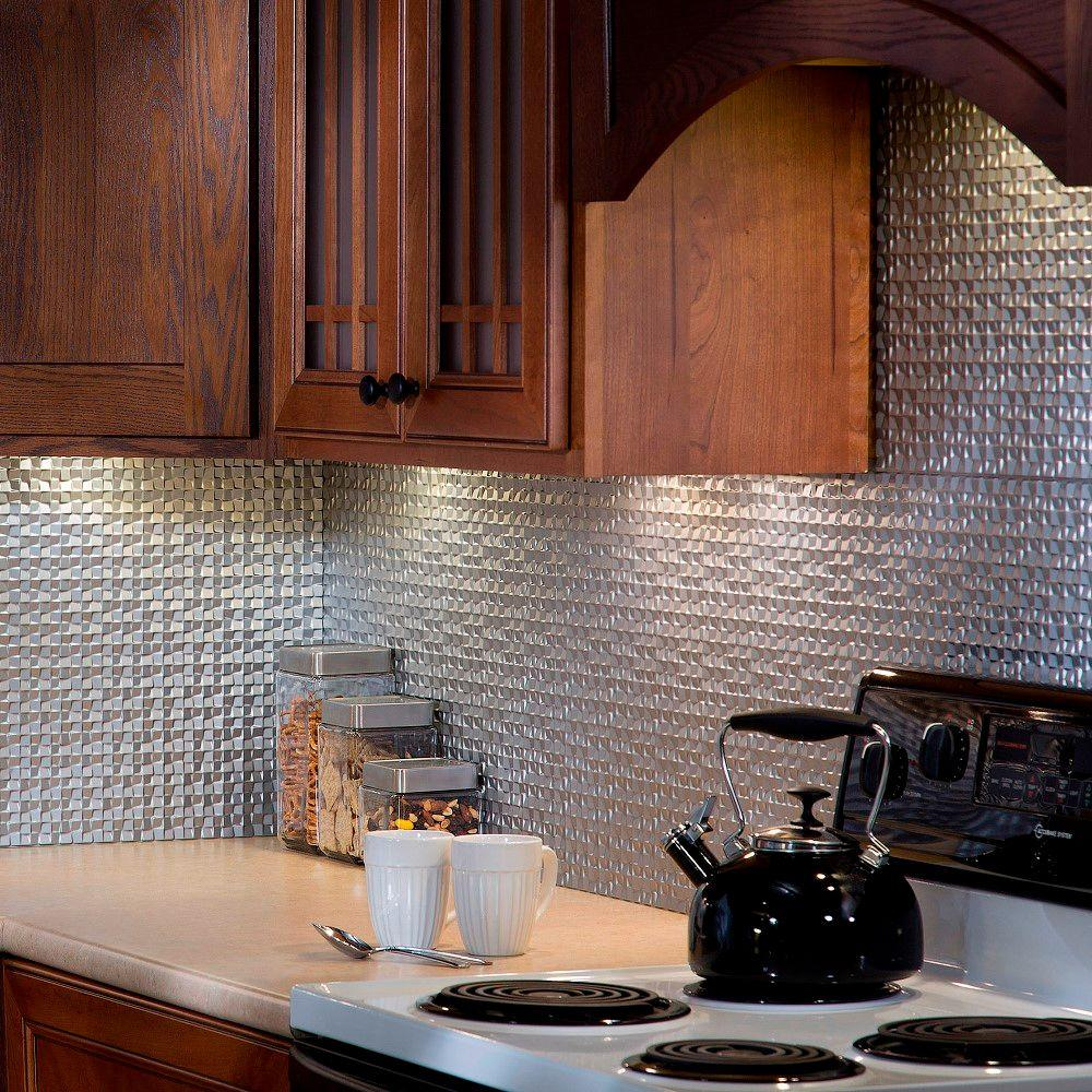 Terrain pvc decorative tile backsplash in argent silver