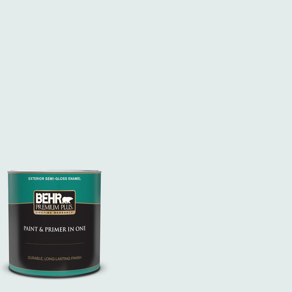 Behr Premium Plus 1 Qt Icc 92 Refreshed Semi Gloss Enamel Exterior Paint And Primer In One 505004 The Home Depot