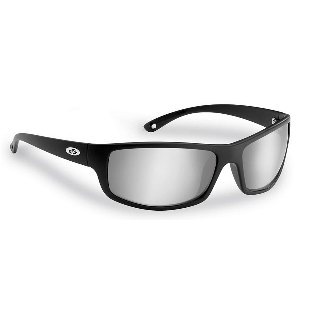 53d8929bfab0 Flying Fisherman Slack Tide Polarized Sunglasses in Black Frame with Smoke  Silver Mirror Lens
