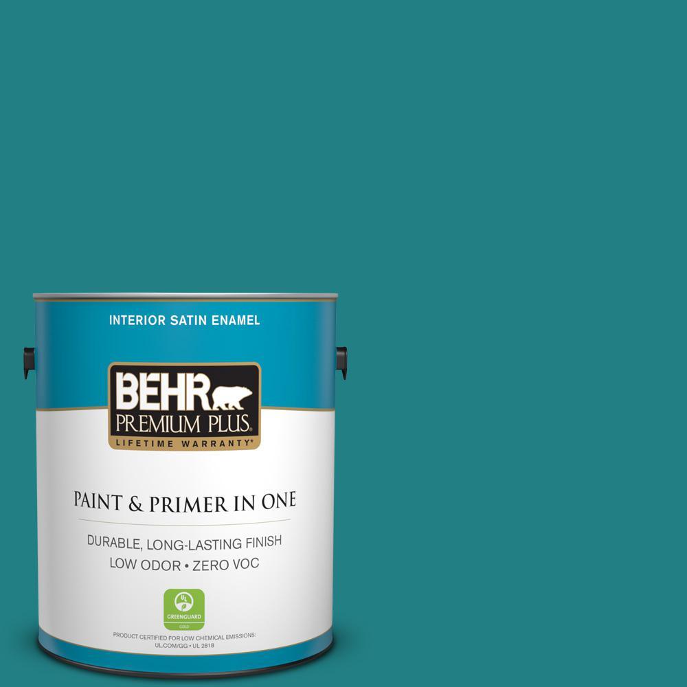 1-gal. #510D-7 Pacific Sea Teal Zero VOC Satin Enamel Interior Paint
