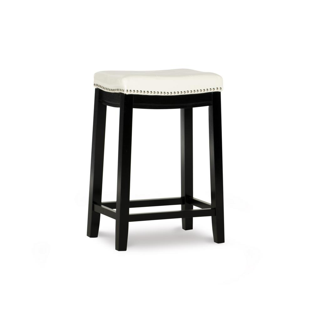 Linon Home Decor Claridge 26 In White Cushioned Counter Stool 55815whtpu 01 Kd U The Home Depot