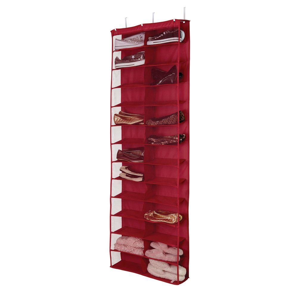 Simplify 26-Shelf Over-the-Door Shoe Rack in Red
