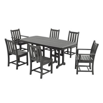 Traditional Garden Slate Grey 7-Piece Plastic Outdoor Patio Dining Set