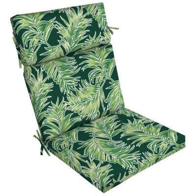 21 in. x 20 in. Emerald Quintana Tropical Outdoor Dining Chair Cushion