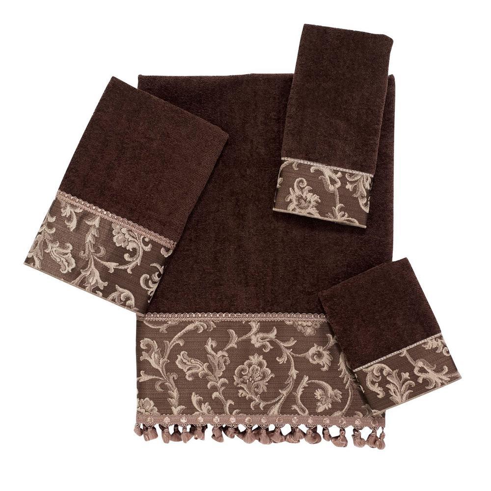 Damask Fringe 3-Piece Towel Set in Mocha