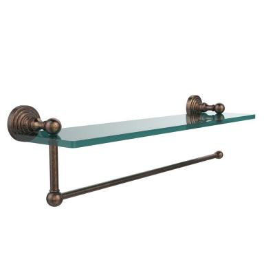 Waverly Place 16 in. L  x 5 in. H  x 5 in. W Paper Towel Holder with Clear Glass Shelf in Venetian Bronze